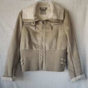 Faux tan colored shearling/suede jacket